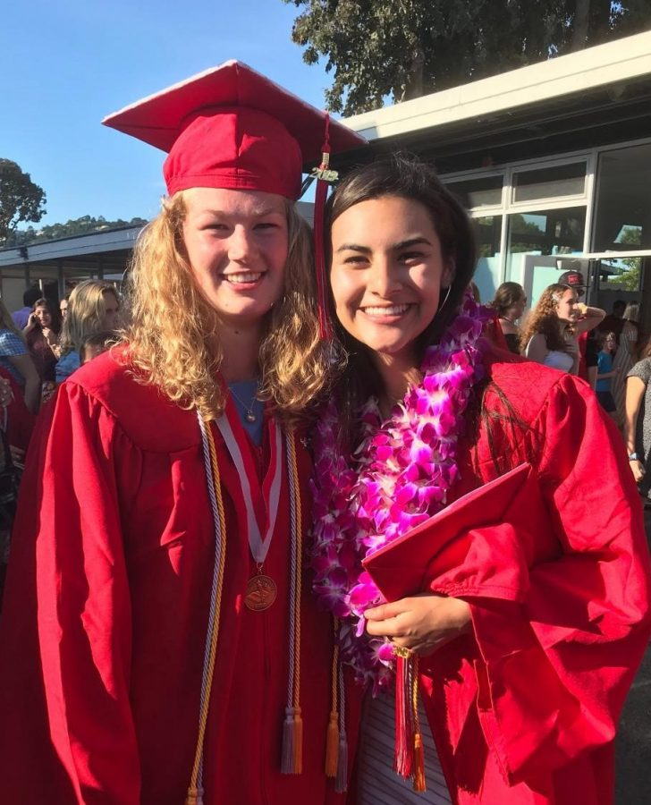 Jenny Walker (left) and Gabby Beltran (right) smile after graduating with the class of 2019.