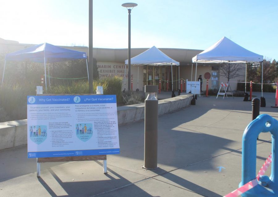 Open Tuesday-Saturday, the vaccination clinics are located at the Marin Center/Fair Office from 8 a.m to 2 p.m., however hours may change in coming weeks. Photo courtesy of Sofi Mincy.