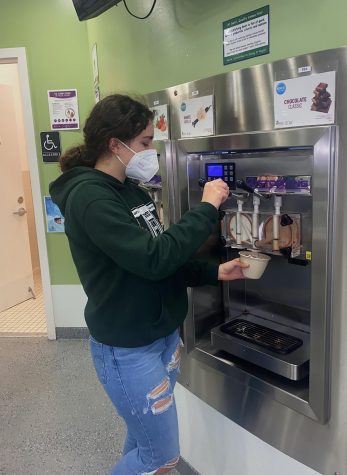 Many students have started jobs over quarantine, including junior Julia Milani who works at Swirl Frozen Yogurt in San Anselmo.