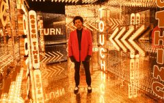 Posing in the gold-plated wings of Raymond James Stadium, The Weeknd readies for his halftime show.