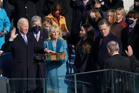 Biden used a bible that has been in his family for generations to be sworn in as the 46th president. (Courtesy of The New York Times)