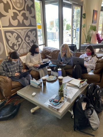 Four friends quietly study indoors at the local favorite, Philz Coffee, located in Town Center Corte Madera.