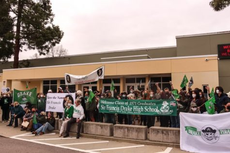 """Raising their voices, community members try to """"Save the Name"""" of Sir Francis Drake High School and Boulevard."""