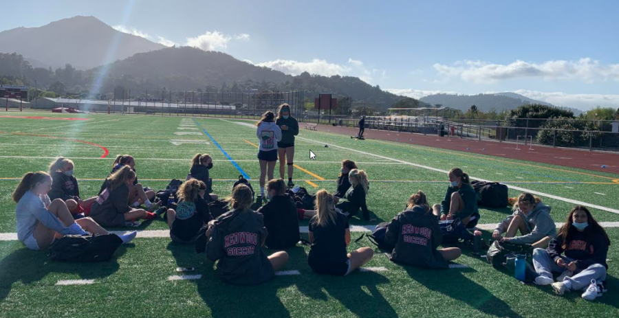 The girls' varsity soccer team has their first practice before competing against Marin Catholic on April 23.