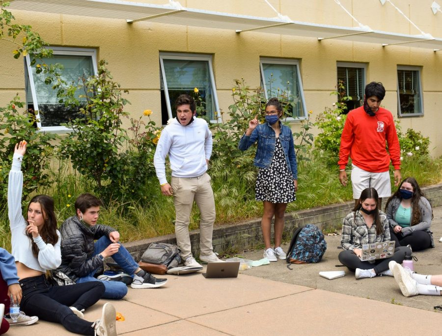 Redwood's leadership class participates in a student-led meeting during lunch on April 26.