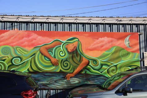 "Proof Lab Surf Shop in Mill Valley features numerous murals by local artists, including the ""Woman of the Ridge Mural"" which ""symbolizes a cultural crossroads honoring the sleeping lady of Mt. Tam,"" according to the mural's placard."