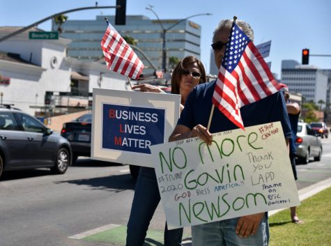 Protesters in Beverly Hills show their support for the recall