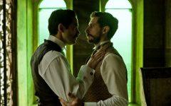 Ignacio De La Torre (Alfonso Herrera) consoles his husband, Evaristo Rivas (Emiliano Zurita). (Photo courtesy of Netflix)