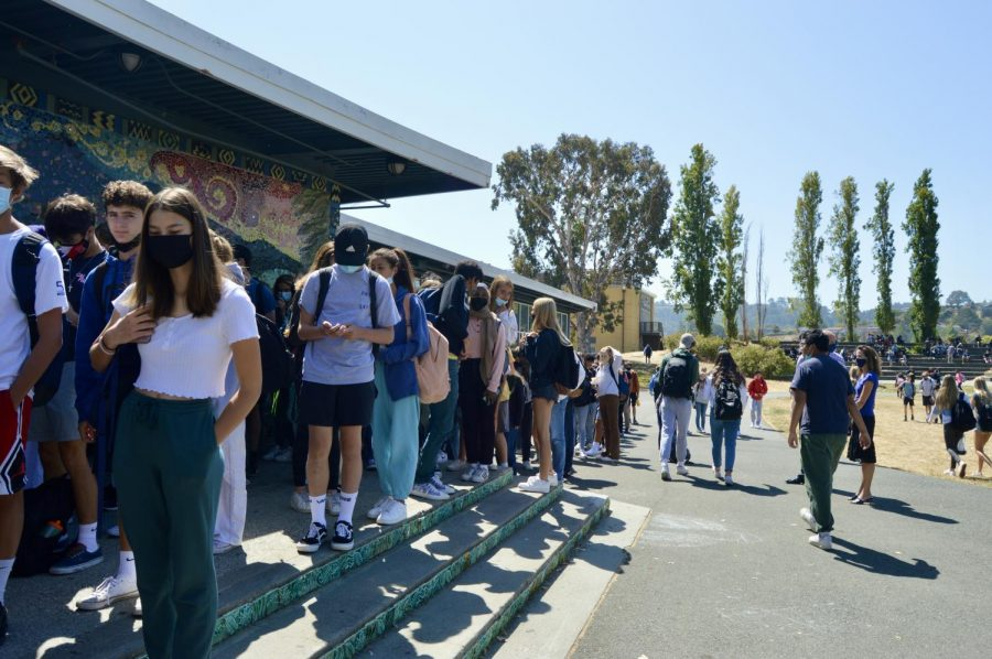 Lining all the way down the TUHSD District Office, students waiting patiently for the free lunch offered by the CEA.