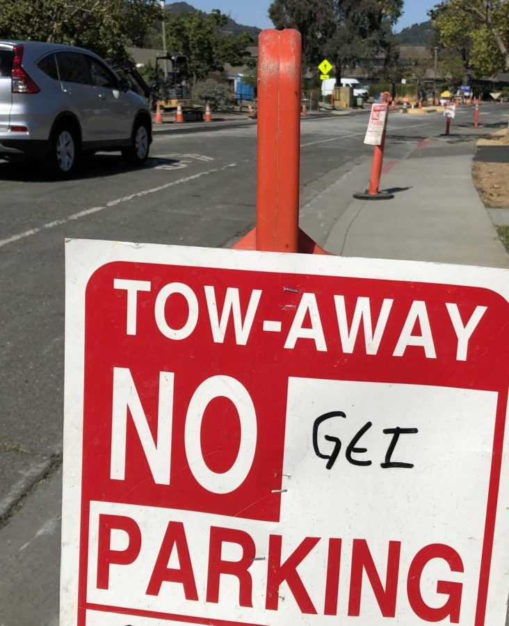 Marin Countys prolonged road improvement project takes up swathes of parking space for Bon Air Apartment residents in Greenbrae.