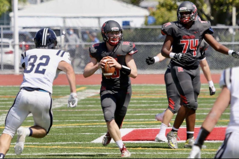 Brady Weingart scans the field for an open receiver against Marin Catholic.