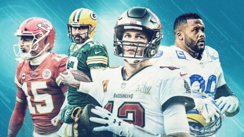 Tom Brady, Aaron Rodgers, Patrick Mahomes, and Aaron Donald enter the 2021-22 season leading their teams to the top of Super Bowl betting odds. (Photo courtesy of PFF (Pro Football Focus))