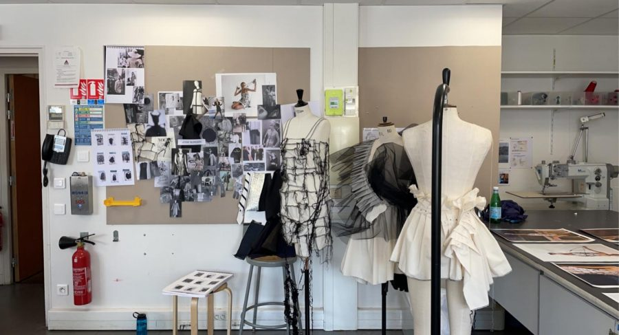 Josie's workspace at the Parsons Paris school, featuring elements of her dress as well as her inspiration collage.