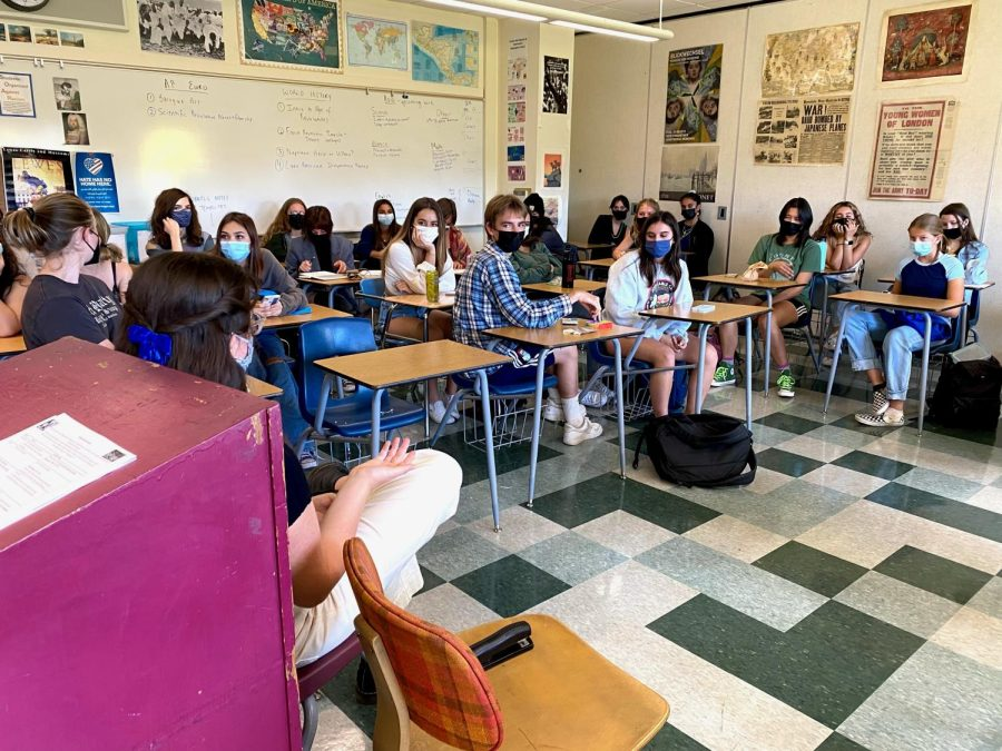 In-person lunch time clubs are back! Junior Athena Raskin leads a discussion on current events in the Democrat Club.