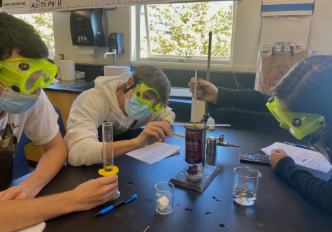 Measuring and observing components of a science experiment, junior students participate in a chemistry lab
